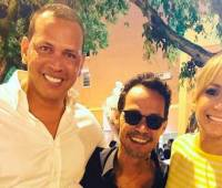 Alex Rodríguez, Marc Anthony y Jennifer López.//INSTAGRAM