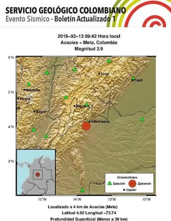 Temblor de 2.9 se sitió en el departamento del Meta