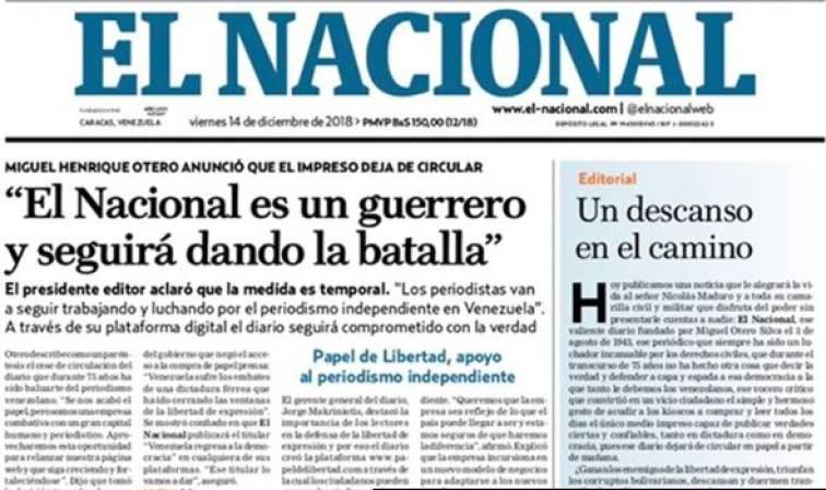 af110af0c6 Venezuela: Diario El Nacional dejará de circular en forma impresa ...