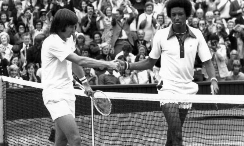 Arthur Ashe con el tenista Jimmy Connors.//foto Getty images
