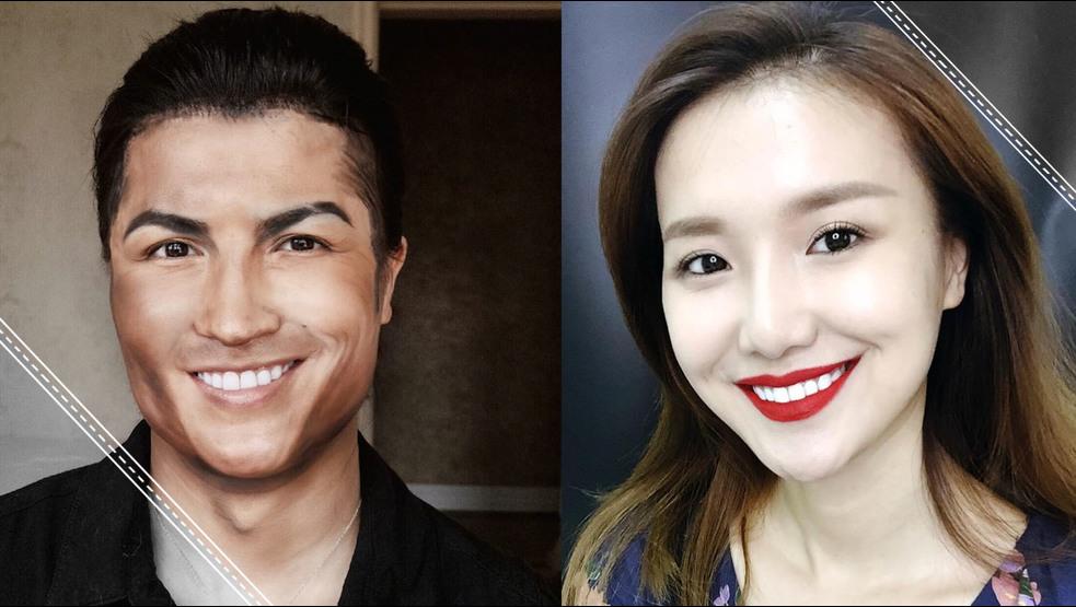 Ella con el maquillaje se convierte en Cristiano Ronaldo, Albert Einstein y muchos más