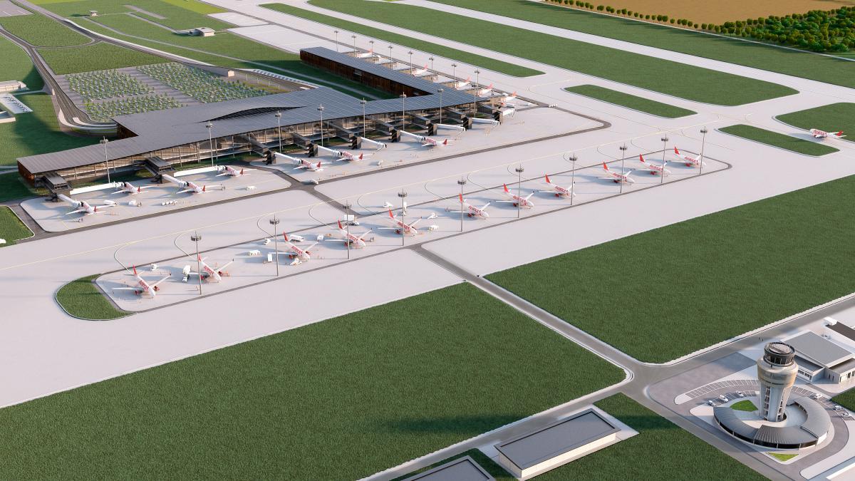 Diseño del proyecto del nuevo aeropuerto de Cartagena, en la zona norte, entre la vereda Zapatero y el corregimiento de Bayunca. // CORTESÍA