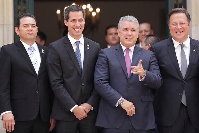 El presidente de Colombia, Iván Duque, el presidente interino de Venezuela, Juan Guaidó, y el vicepresidente de Estados Unidos, Mike Pence. (Colprensa-Sergio Acero).