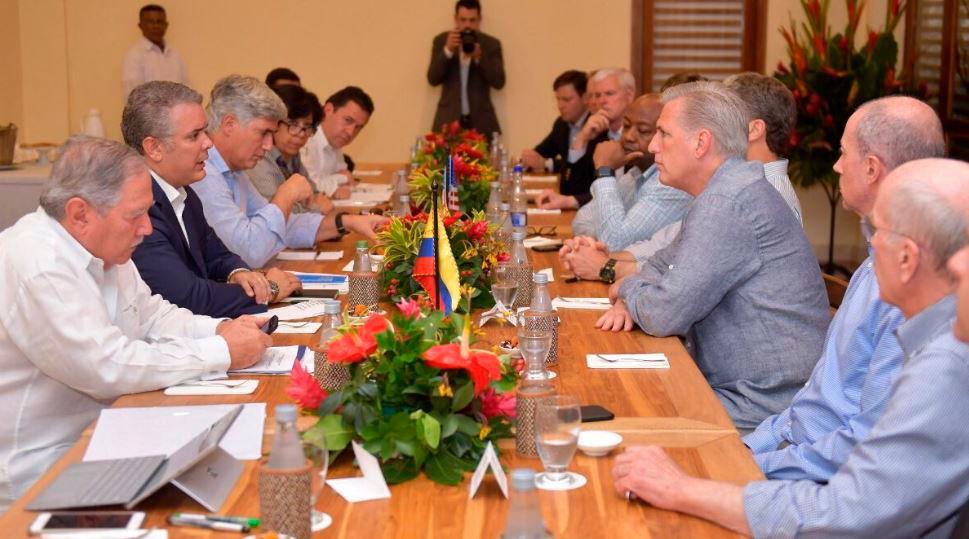 Reunión entre Duque, el embajador de EE.UU. en Colombia y congresistas de los Estados Unidos. // Cortesía