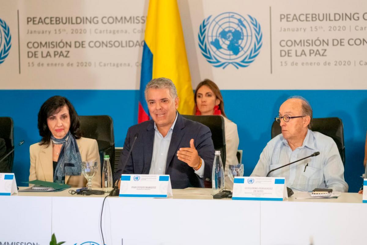 El presidente Duque durante la sesión de este miércoles en Cartagena. // Presidencia