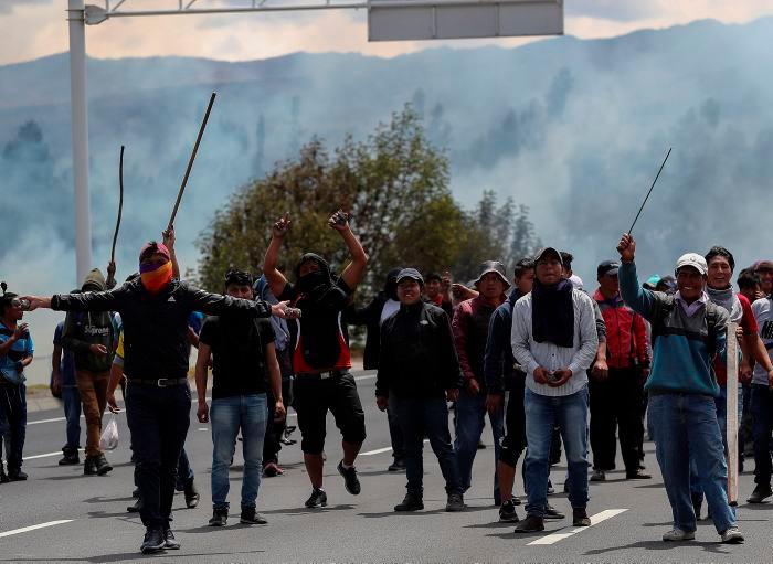 """""""Fuera Lenín"""", """"Lenín corrupto"""" eran algunos de los eslóganes que coreaban los manifestantes. // EFE"""