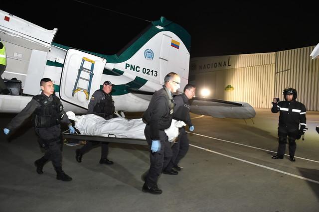 Llegada a Bogotá de los cuerpos de alias 'Guacho' el pasado 22 de diciembre de 2018