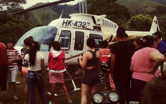 Helicóptero atacado en Hacarí, Norte de Santander. // Foto: Cortesía