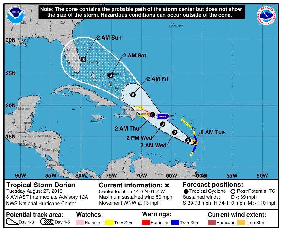 Una trayectoria a largo plazo todavía incierta mostraba que Dorian se acercaría a Florida durante el fin de semana.