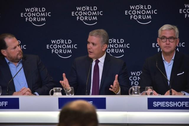 El presidente de la República, Iván Duque, participando en el Foro Económico Mundial de Davos, Suiza. Colprensa