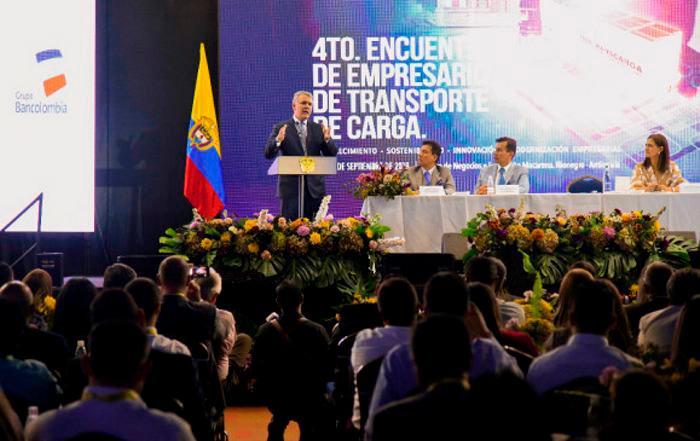 Duque durante su intervención en el Cuarto encuentro de Empresarios de Transportadores de Carga. //Presidencia.