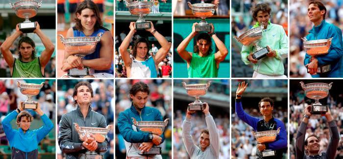 Rafael Nadal y sus 12 títulos de Roland Garros