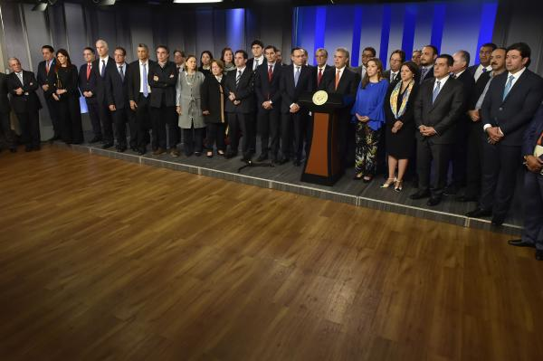 Estos son algunos de los dirigentes políticos que estuvieron en la reunión con Iván Duque. // Cortesía Presidencia de la República.