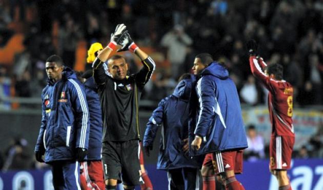 Los jugadores de venezuela festejan el empate sin goles ante Brasil