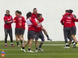 La Selección de Chile durante el entrenamiento.