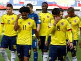 Jugadores de la Selección Colombia luego del empate contra Perú.