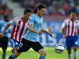 Edinson Cavani durante el partido contra Paraguay.