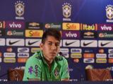 Roberto Firmino durante la rueda de prensa.