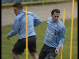 Diego Godín durante los entrenamientos.