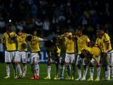 Selección Colombia durante los penales ante Argentina.