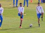 James Rodríguez, Radamel Falcao y Alex Mejía durante los entrenamientos.