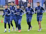Jugadores argentinos durante el entrenamiento en Santiago.