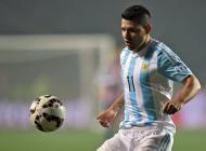 Sergio Agüero durante el partido con Paraguay.