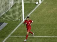 Paolo Guerrero luego de anotar uno de sus goles contra Bolivia.