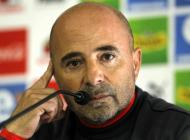 Jorge Sampaoli durante la rueda de prensa.