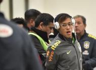 Selección Colombia durante la llegada a Temuco.