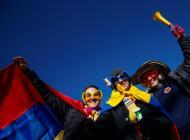 Aficionados de la Selección Colombia en las calles de Rancagua.