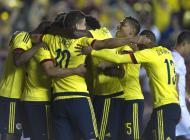 La Selección Colombia celebra un gol en el amistoso contra Costa Rica.