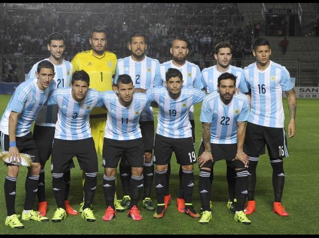 Selección Argentina antes del partido amistoso ante Bolivia.