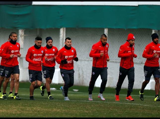 Selección chilena durante los entrenamientos.