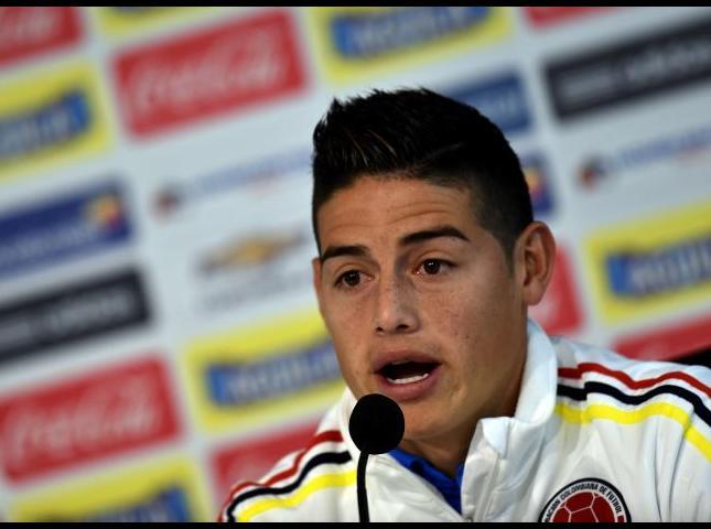 James Rodríguez durante la conferencia de prensa.