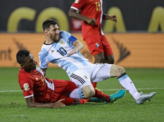 Lionel Messi en el partido ante Panamá.