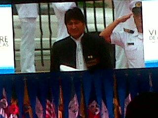 Evo Morales durante su llegada al centro de Convenciones