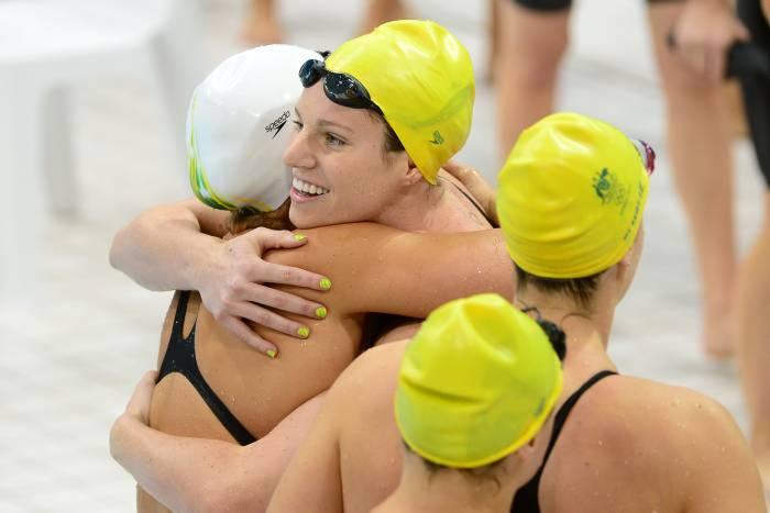 Equipo Australiano de natación en la modalidad de relevo.