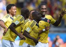 Pablo Armero celebra el primer gol de Colombia en el Mundial.