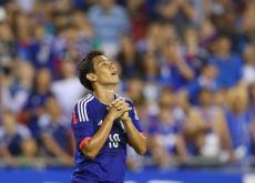 Yoshito Okubo celebrando el gol que marcó al final del partido.