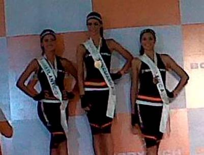 Daniella Álvarez, señorita Atlántico; Thael Osorio, señorita Cundinamarca (centr