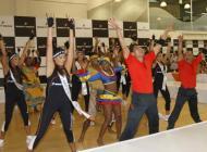 Las candidatas a Señorita Colombia, durante su visita a Bodytech