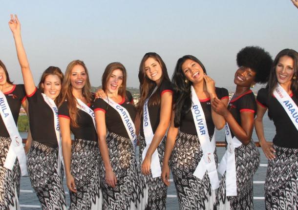 Un grupo de las 21 candidatas que se encuentran en Cartagena.