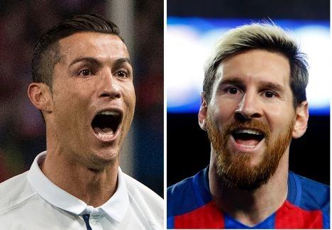 Un artista pintó en Barcelona un beso entre Messi y CR7
