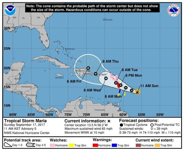 Huracán María con viento de hasta 250 km/h azota a Puerto Rico