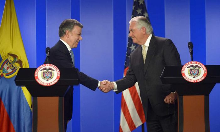 Tillerson continúa en Colombia su cruzada contra Venezuela