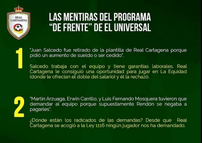 Real Cartagena se equivoca al decir que De Frente y El Universal ...