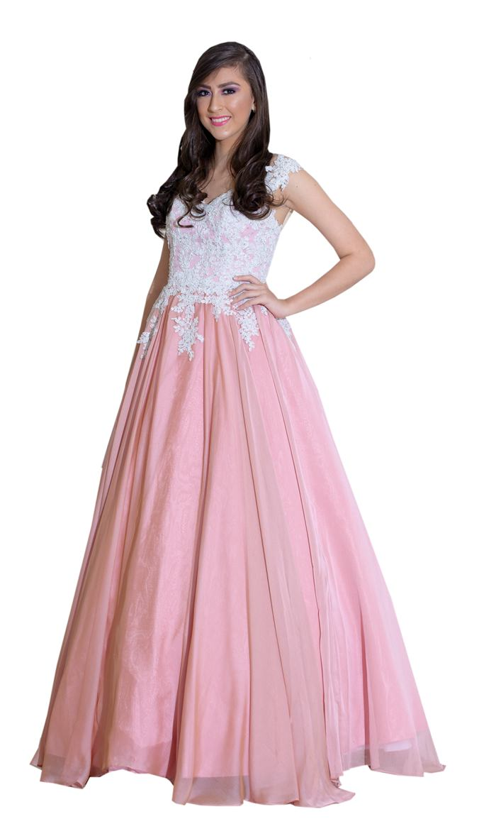 Vestido palo de rosa con blanco