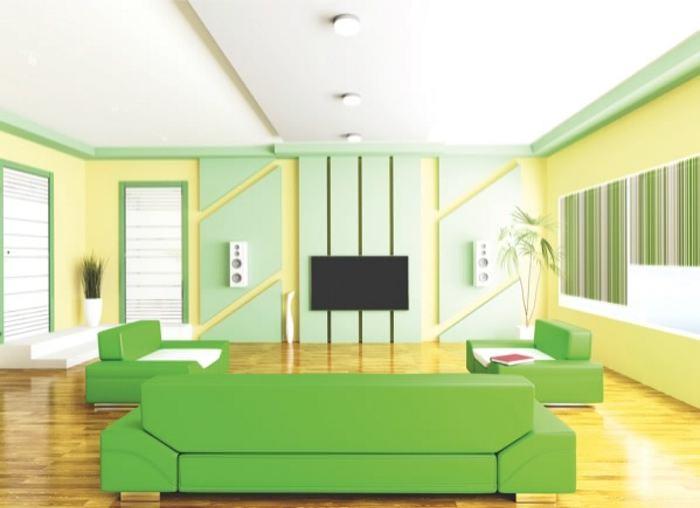 Decoración de interiores con colores fuertes y complementarios.
