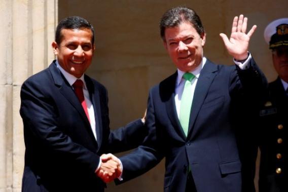 Ollanta Humala y Juan Manuel Santos.